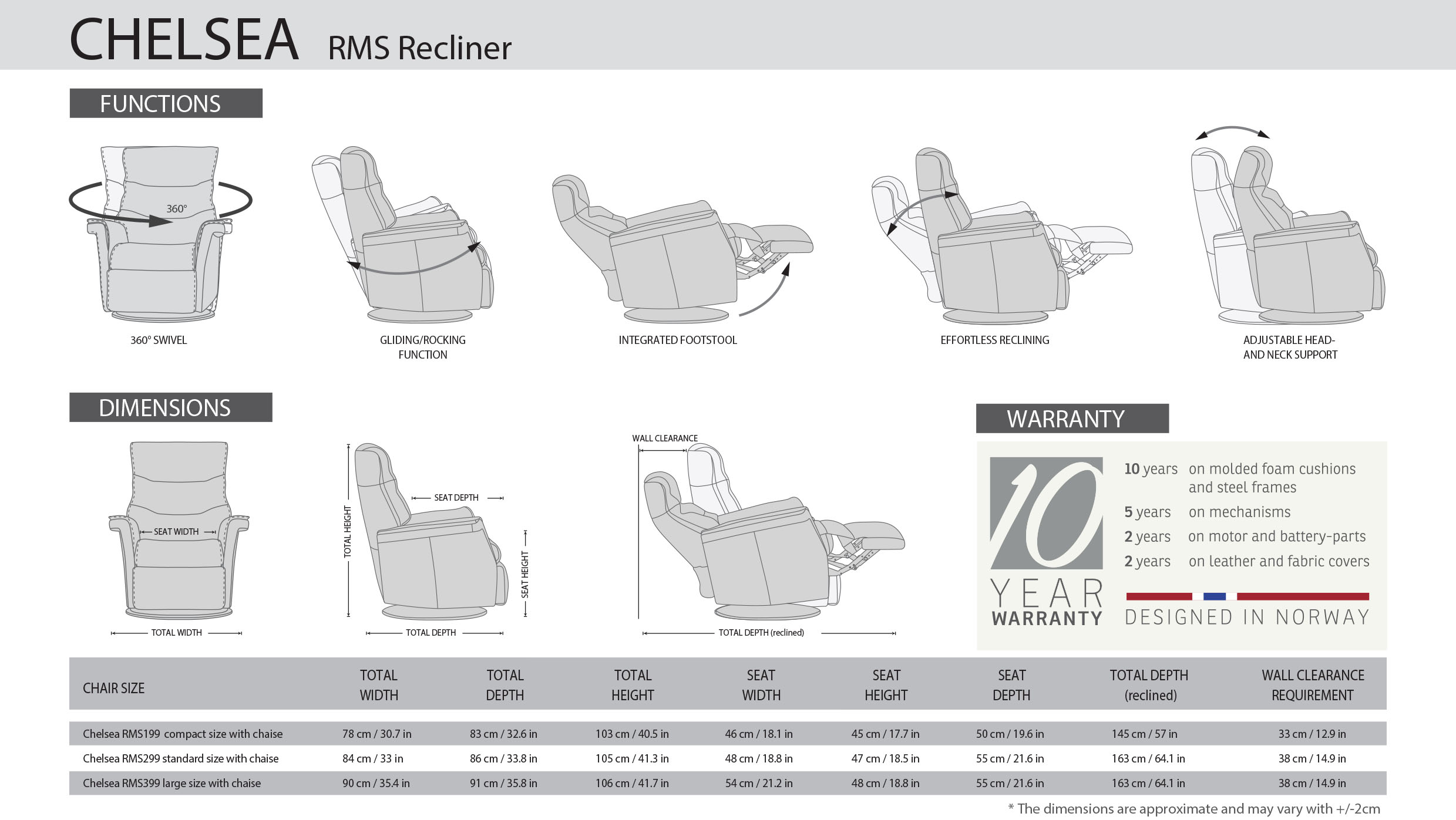 IMG Chelsea RMS Recliner Dimensions