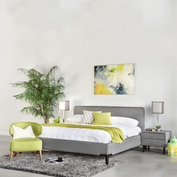 Alice Bed in Grey Fabric with Crescent Nightstands and Green Mission Chair
