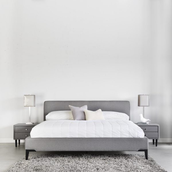 Alice Bed in Grey Fabric with Crescent Nightstands