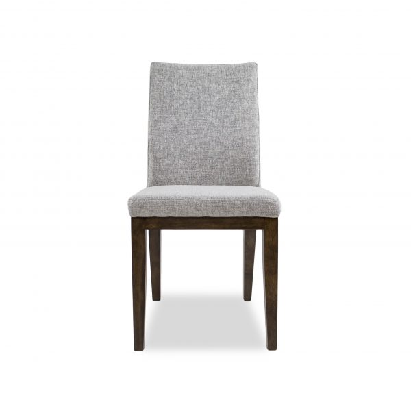 Lena Dining Chair in Shale Fabric with Walnut legs, Front