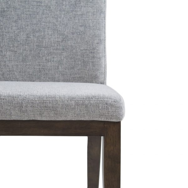 Lena Dining Chair in Shale Fabric with Walnut legs, Close Up
