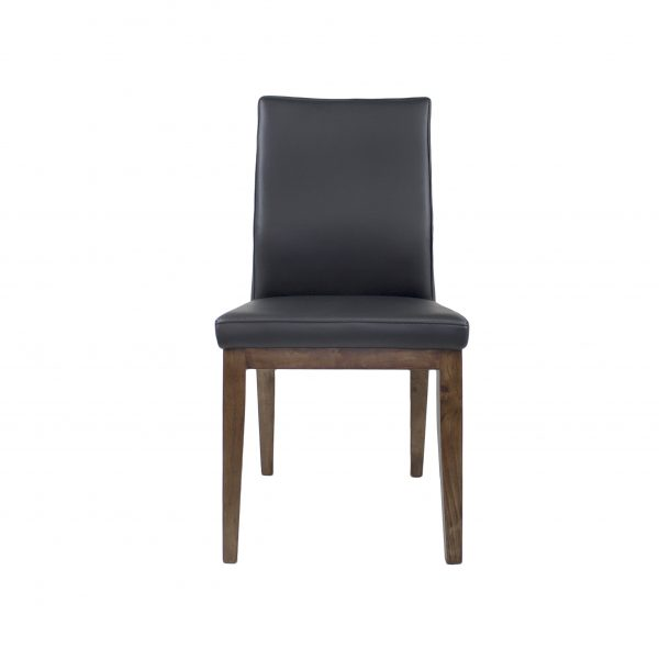 Lena Dining Chair in Black Leather with Walnut legs