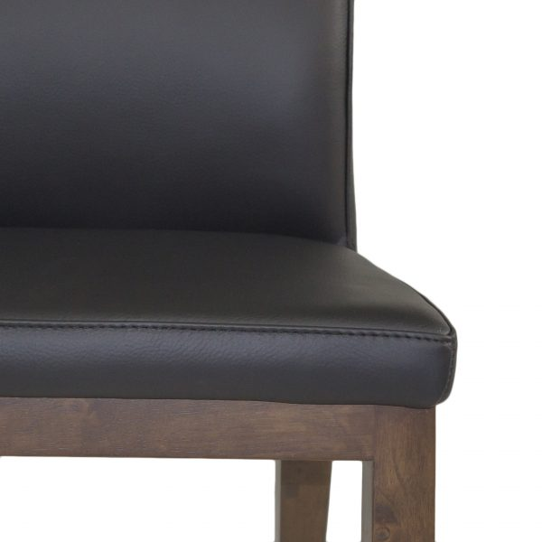 Lena Dining Chair in Black Leather with Walnut legs, Close Up
