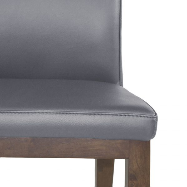 Lena Dining Chair in Grey Leather with Walnut legs, Close Up