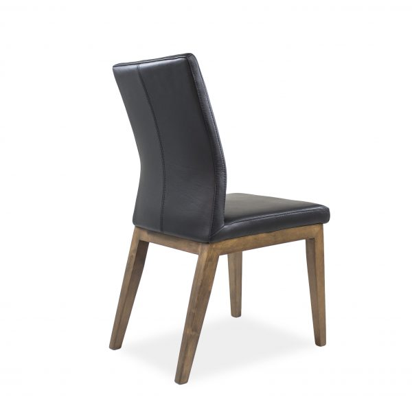 Lena Dining Chair in Black Leather with Walnut legs, Back