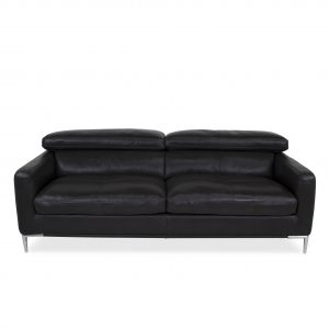 Malmo Sofa Black Leather, Straight