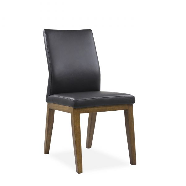 Lena Dining Chair in Black Leather, Walnut Legs, Angle