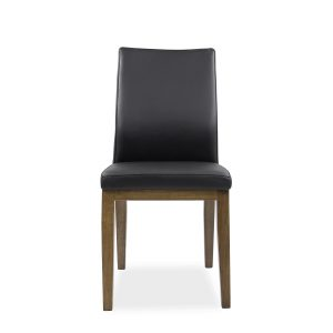 Lena Dining Chair in Black Leather, Walnut Legs, Front