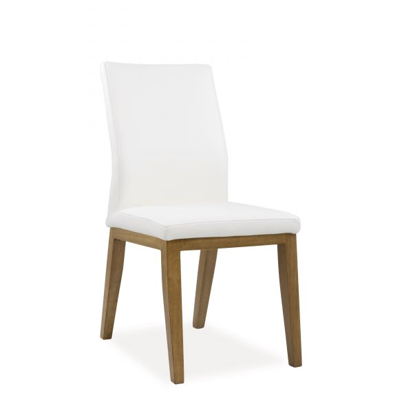 Lena Dining Chair in White Leather, Walnut Legs, Angle