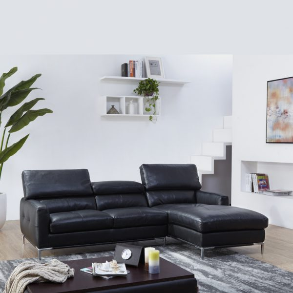 Malmo Sectional in Black Leather with White Walls and Grey Carpet