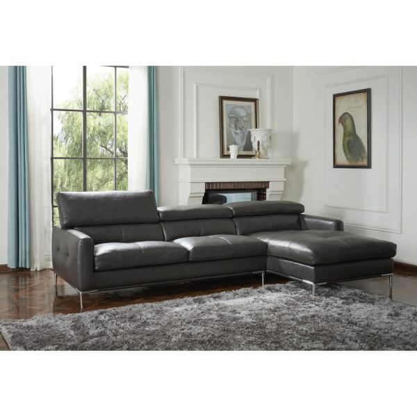Malmo Sectional in Charcoal Leather