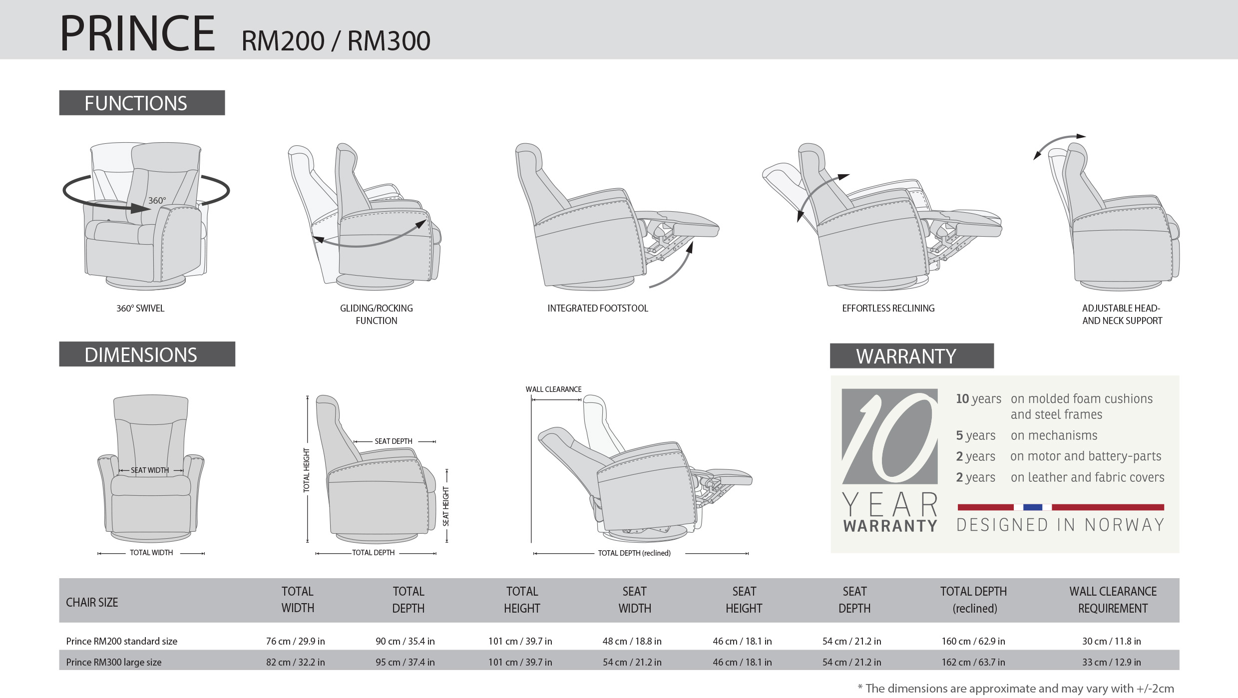 IMG Prince Recliner Dimensions