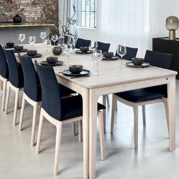 Skovby SM63 Dining Chairs around White Oak table
