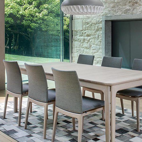 Skovby SM63 Dining Chairs around Table, Grey