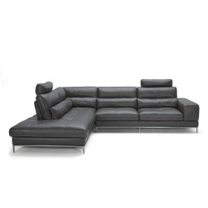 Kihei Sectional in Charcoal M Leather, Sectional Left