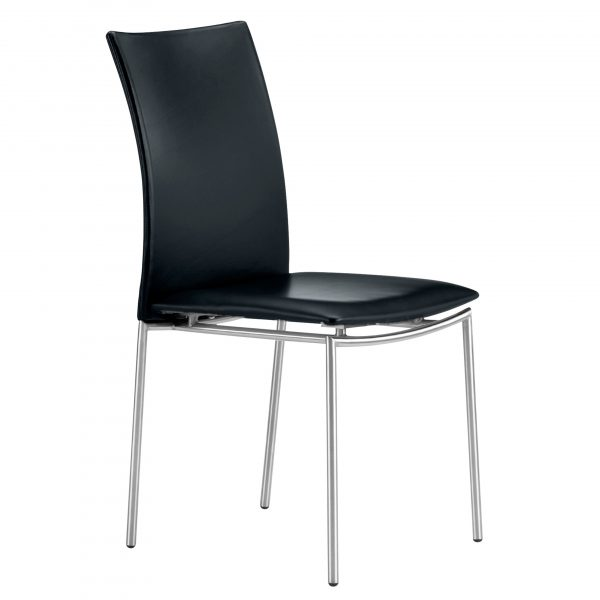 Skovby SM58 Dining Chair in Black Leather, Angle