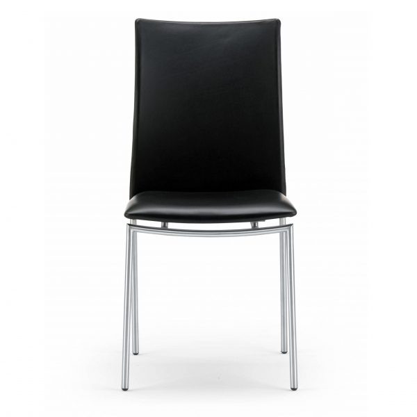 Skovby SM58 Dining Chair in Black Leather, Front