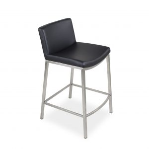 York Counter Stool in Black Vinyl on Angle
