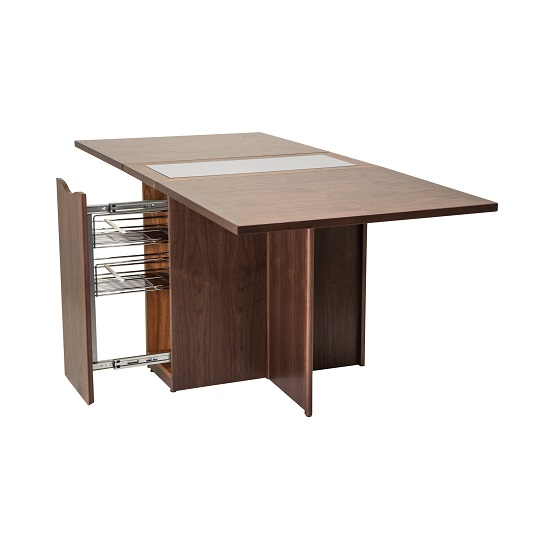 Skovby SM101 Dining Table in Walnut, Open on Angle