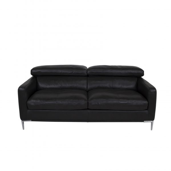 Malmo Loveseat, Black Leather, Front