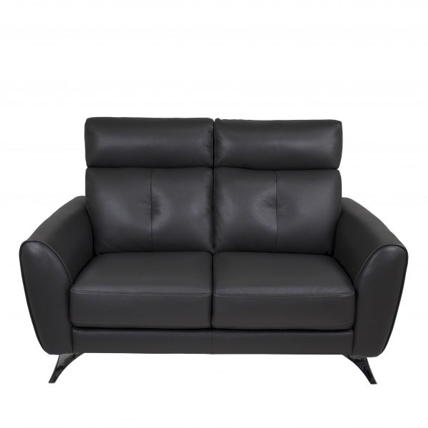 Hans Loveseat Dark Grey Leather, Front