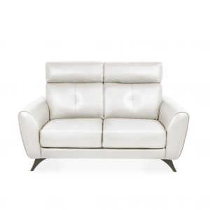 Hans Loveseat Light Grey Leather, Front