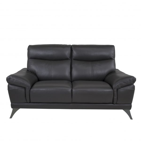 Florina Loveseat in Dark Grey Leather, Front