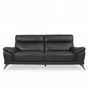 Florina Sofa in Dark Grey Leather, Front