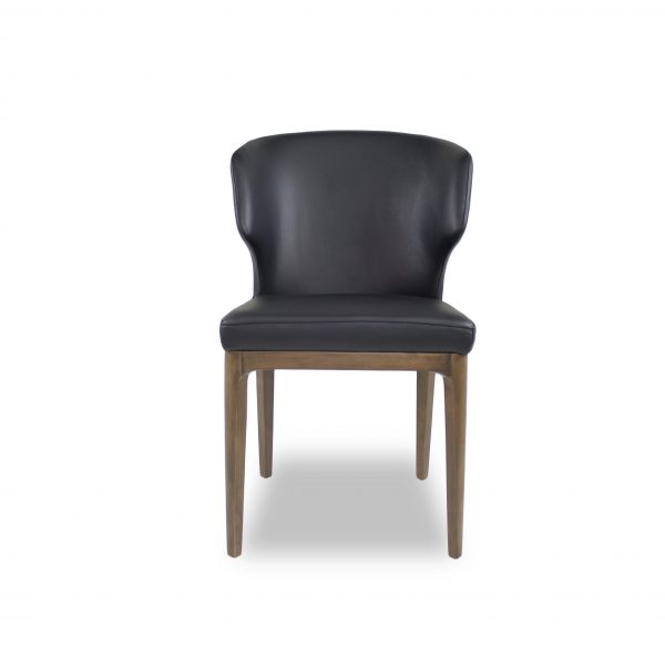 Blake Dining Chair in Black Leather, Front