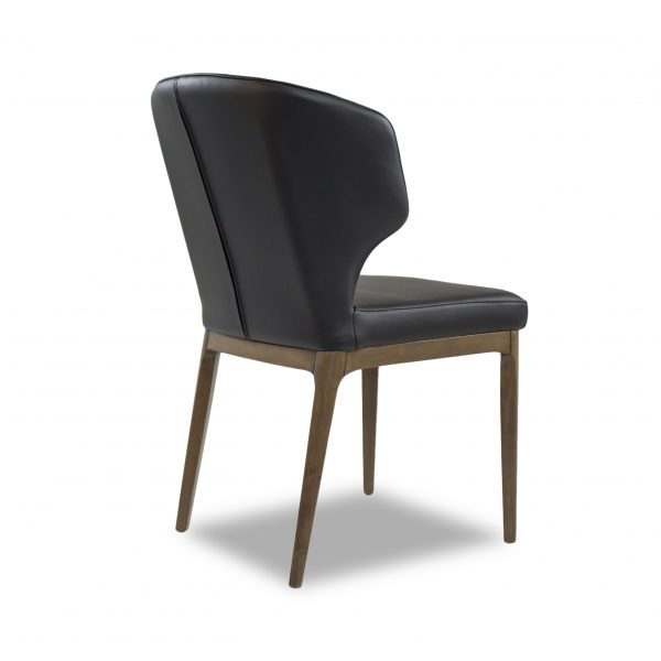 Blake Dining Chair in Black Leather, Back