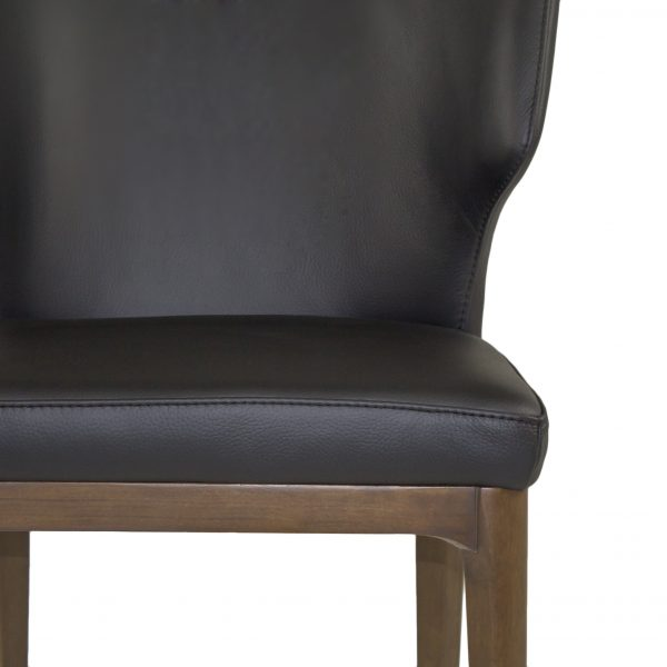 Blake Dining Chair in Black Leather, Close Up