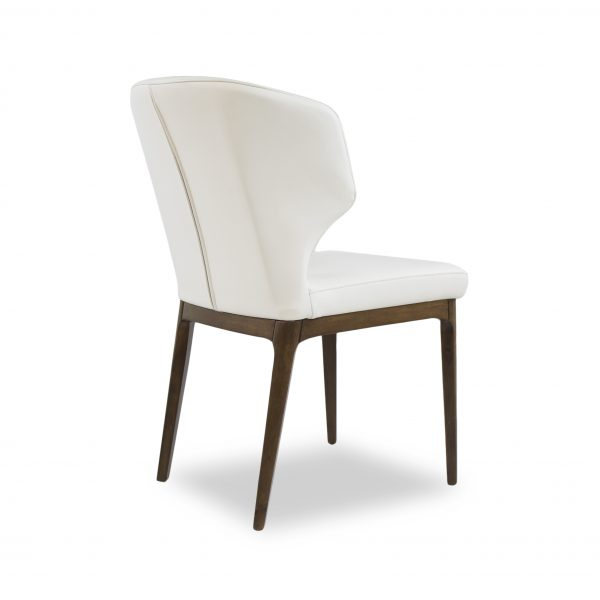 Blake Dining Chair in White Leather, Back
