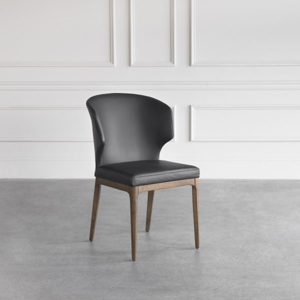 Blake Dining Chair in Black Leather, Angle, Wall