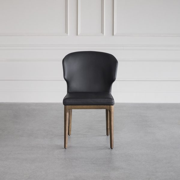Blake Dining Chair in Black Leather, Front, Wall