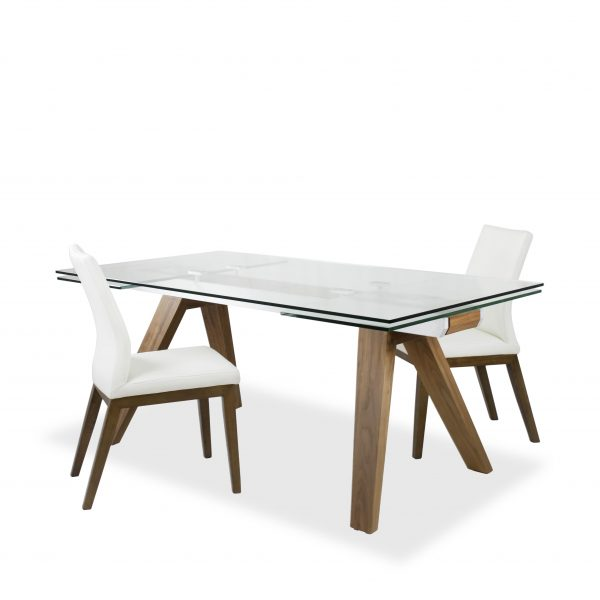 Elliot Dining Table in Walnut with White Lena Leather Dining Chairs