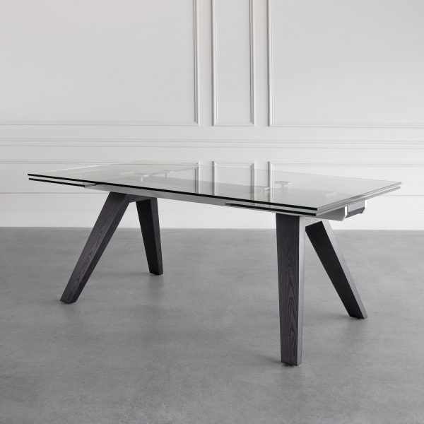 Elliot Extendable Dining Table in Wenge, Angle, Wall