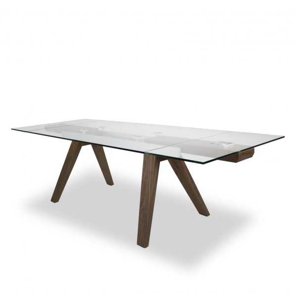 Elliot Dining Table in Walnut, Extended, Angle