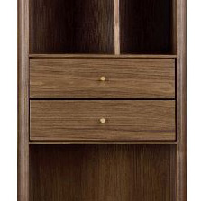 Gemma Bookcase in Walnut with Brass Details, Close Up