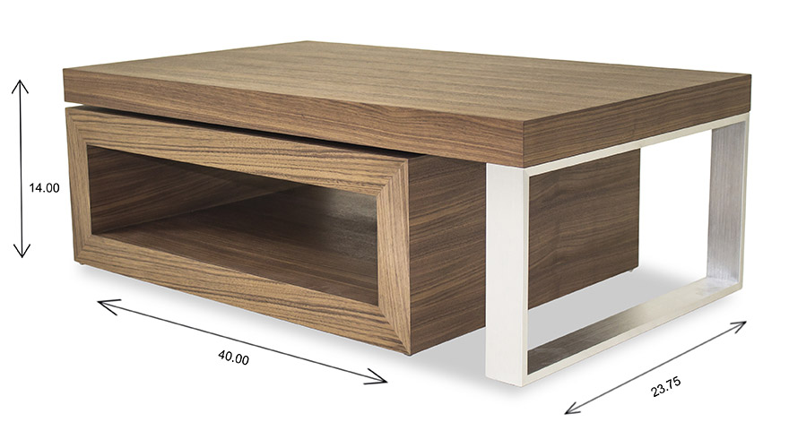 Hudson Coffee Table with Dimensions