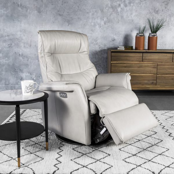 IMG Chelsea RMS Recliner in Cinder Leather, Angle, Recliner Out