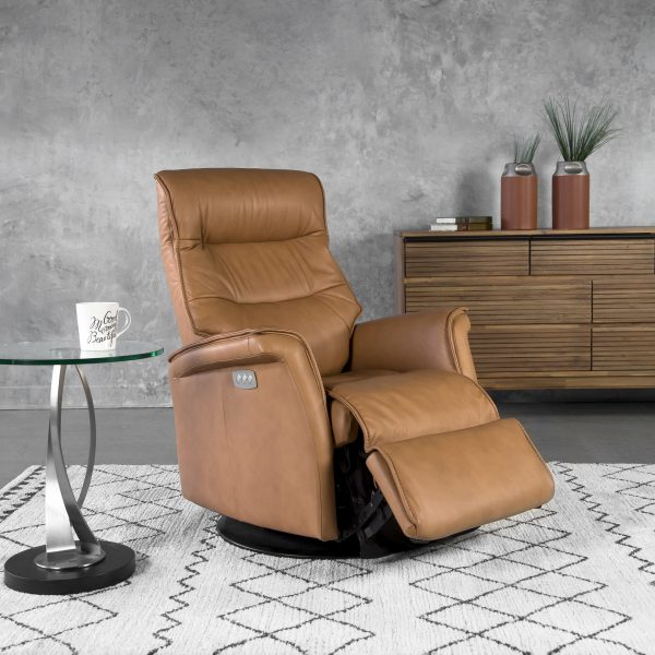 IMG Chelsea RMS Recliner in Nature Leather, Angle, Recliner Out