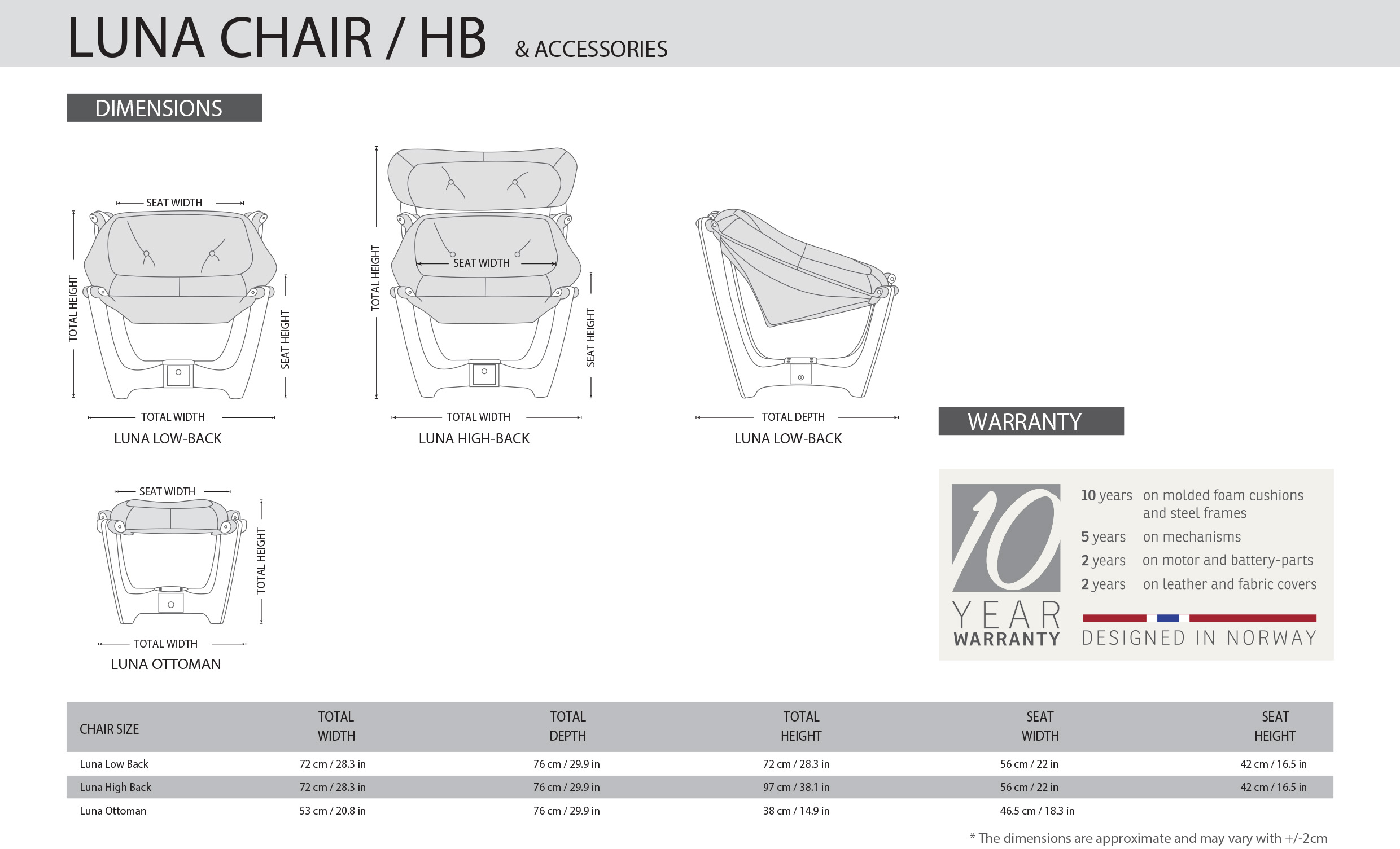IMG Luna High Back Chair Dimensions