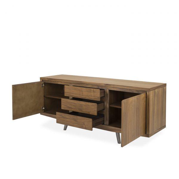 Leon Sideboard in Walnut, Angle, Open