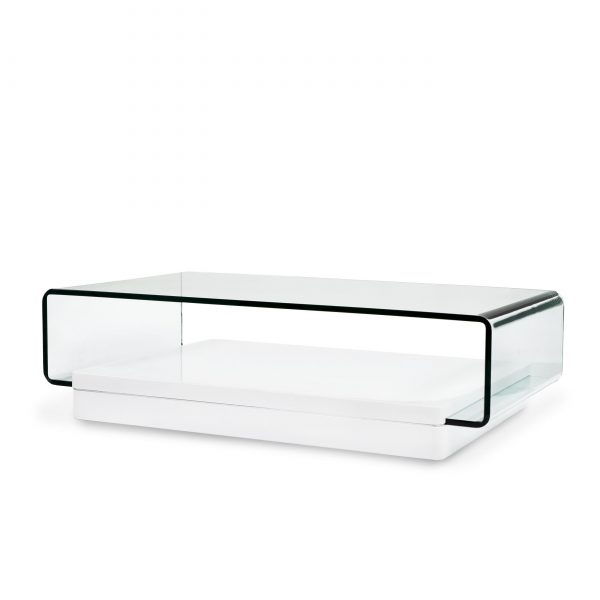 Lepage Coffee Table in White Lacquer, Angle
