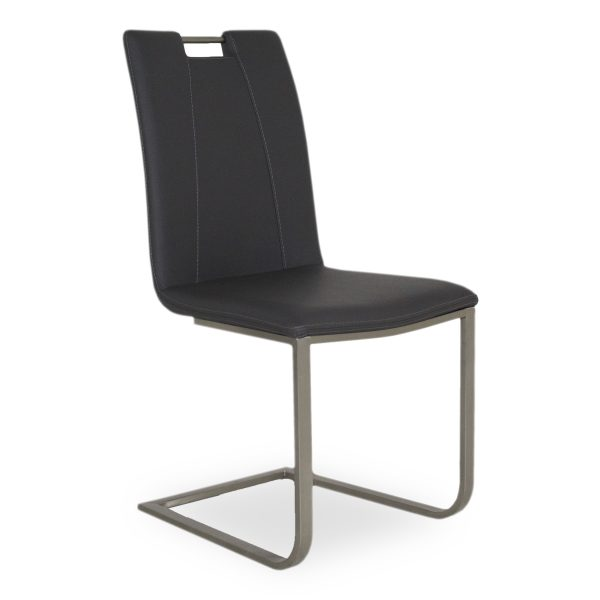 Marta Dining Chair in Black Vinyl, Angle