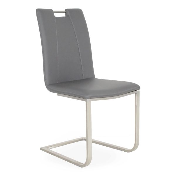 Marta Dining Chair in Grey Vinyl, Angle