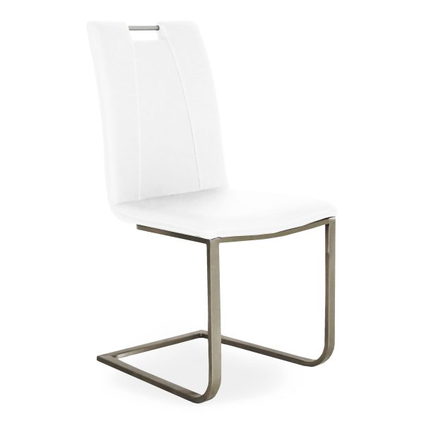 Marta Dining Chair in White Vinyl, Angle