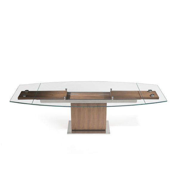 Mercurio Dining Table in Walnut, Straight, Extended