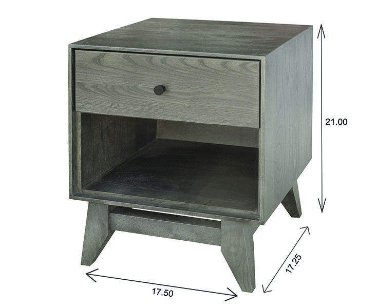 Wood Castle Montano 1 Drawer Night Table Dimensions
