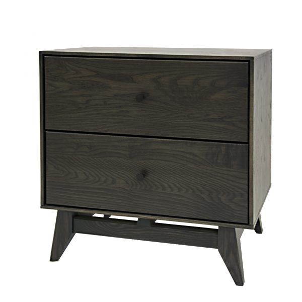 Wood Castle Montano 2 Drawers Night Table in Obsidian Stain